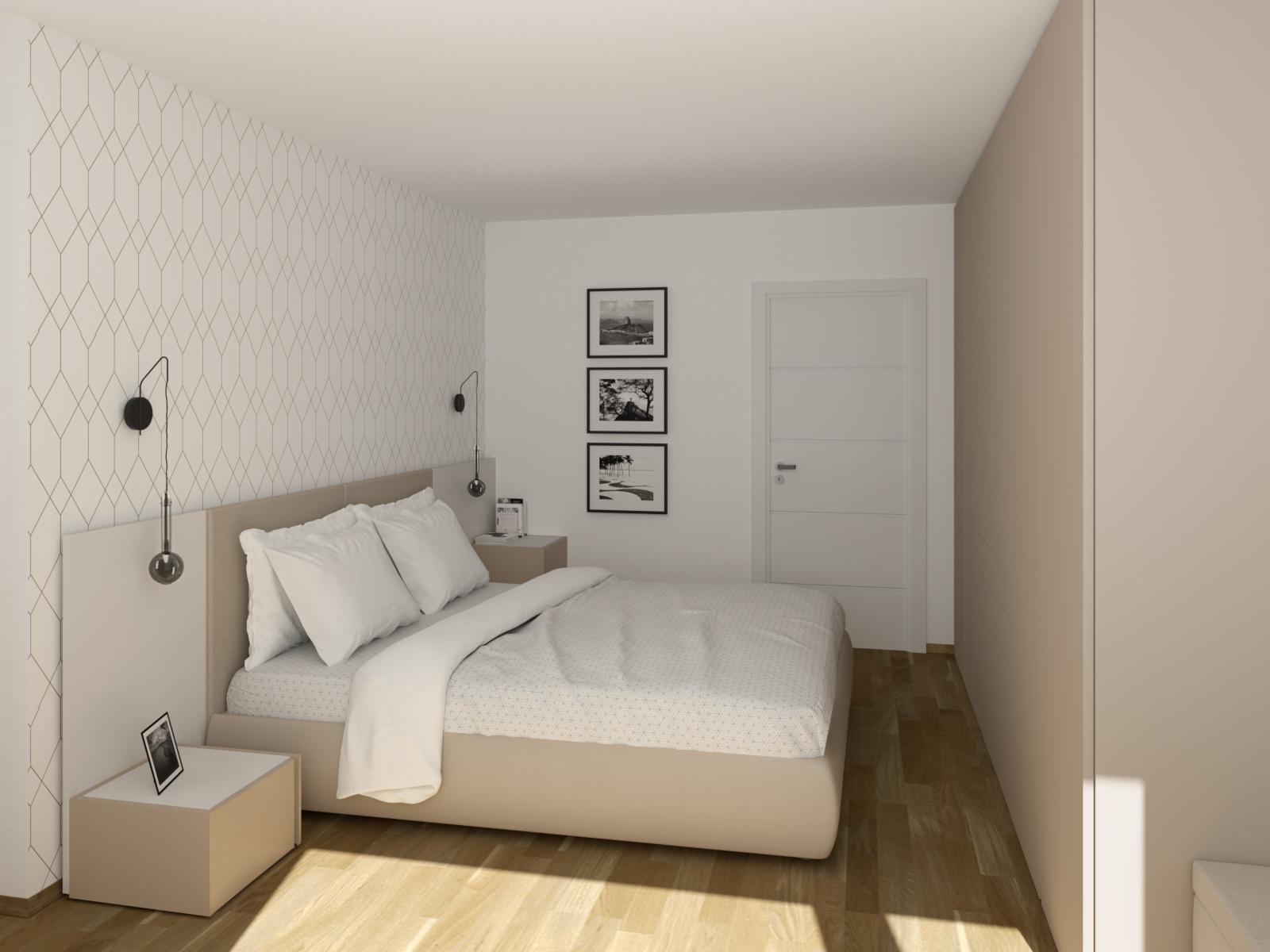 Progetto camera di 10 mq con letto con boiserie - 3403 Camera