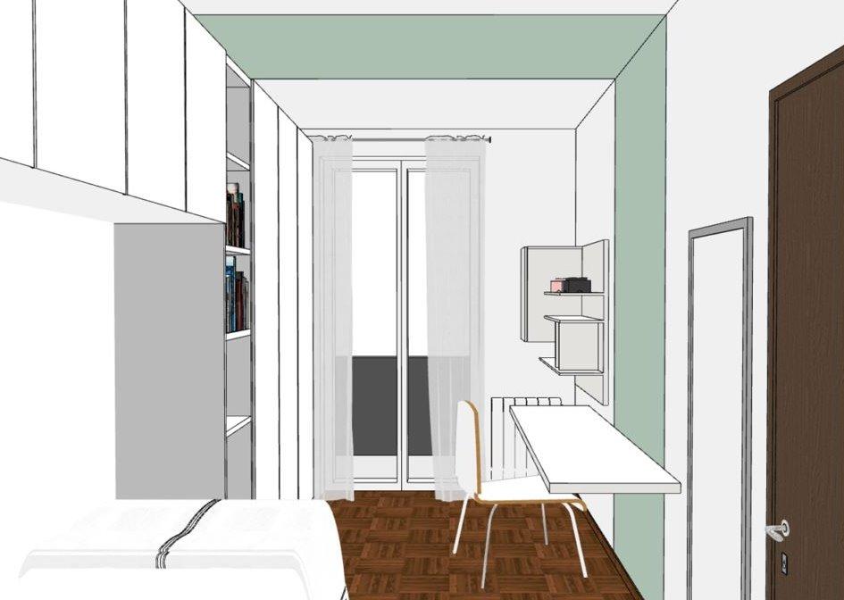 Idee cameretta singola a ponte per stanza lunga e for Arredare una cucina lunga e stretta