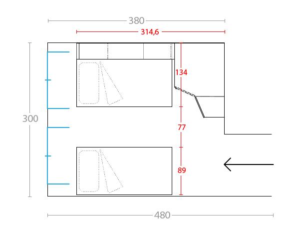 Idee il progetto di pamela una cameretta di 12 mq per for Progettare la cameretta
