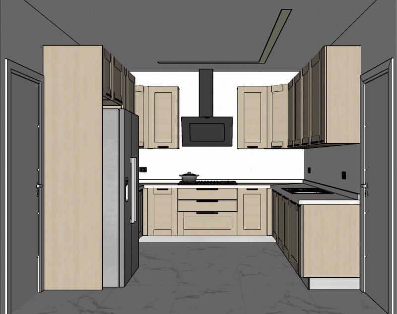 Progetto 2: cucina a ferro di cavallo in legno con piano in quarzo