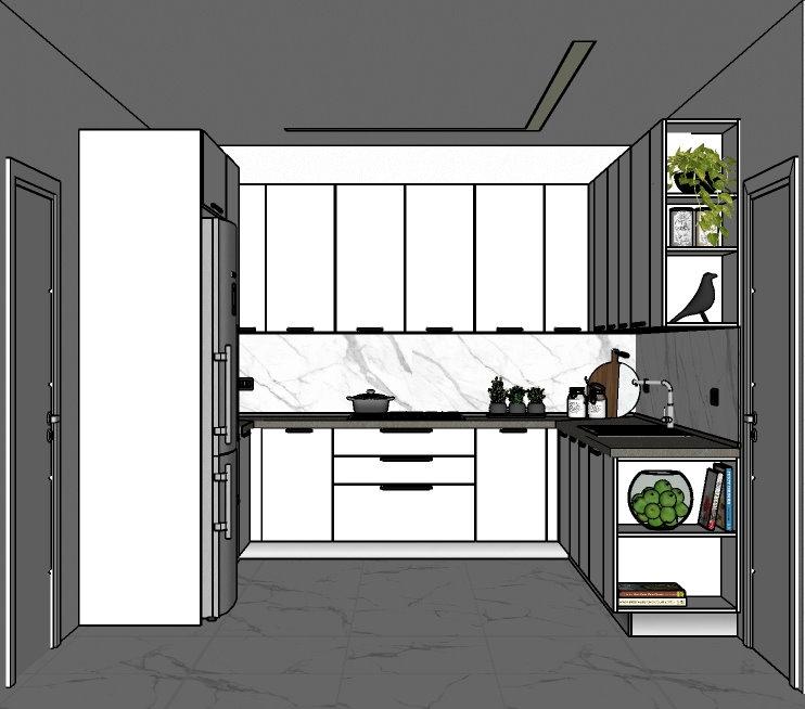 Progetto 1: cucina a ferro di cavallo laccata bianca con top in laminato effetto marmo