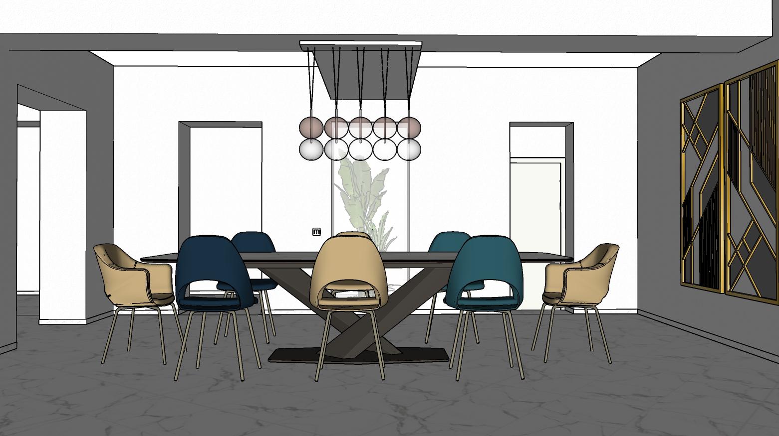 Tavolo da pranzo con sedie colorate