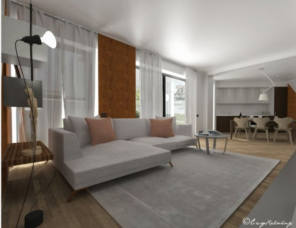 Render: dettaglio divano con tavolino e tappeto. Sulla sinistra si intravedono mensola e contenitori da parete