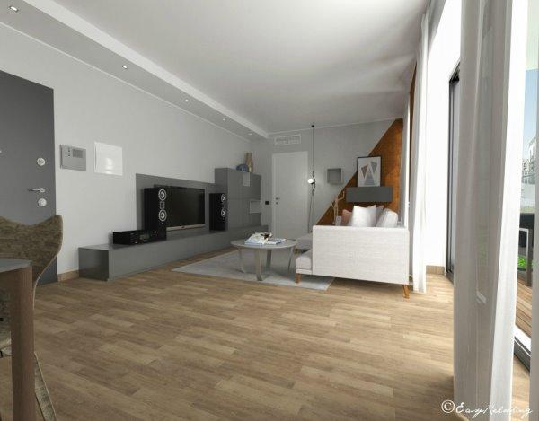 Render realizzato da EasyRelooking: living, zona relax