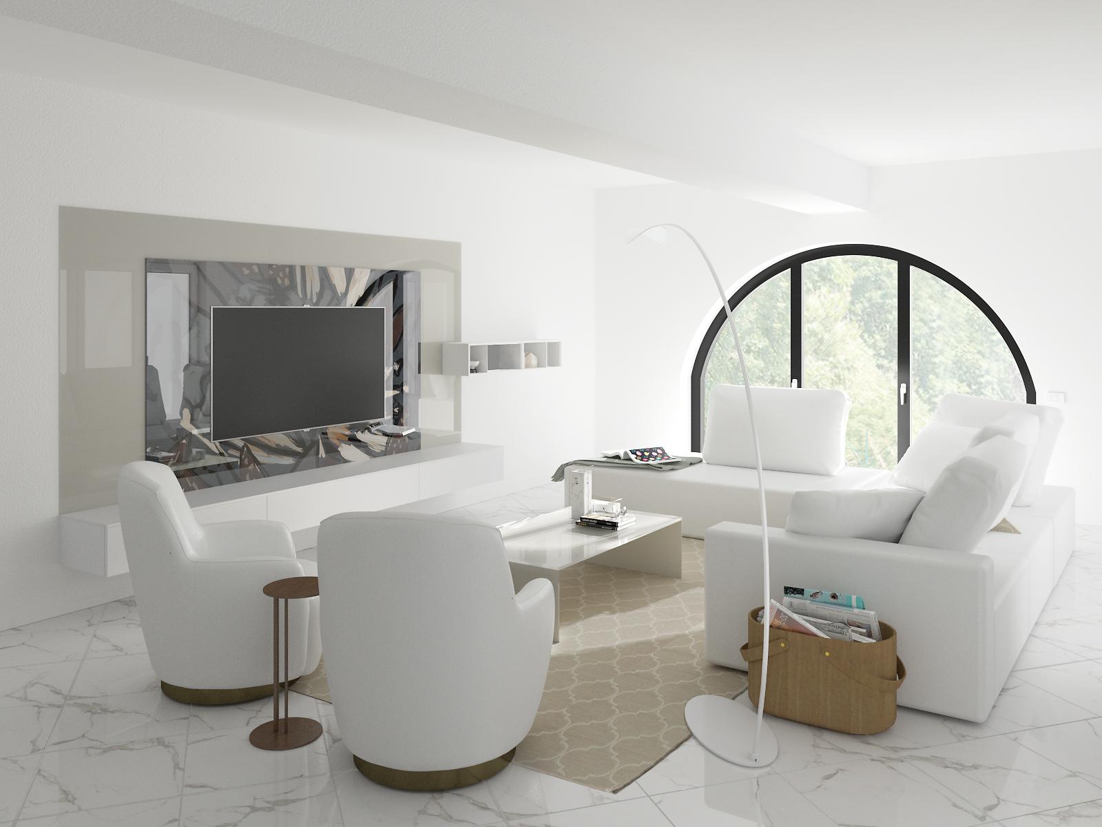 Render salotto bianco e crema