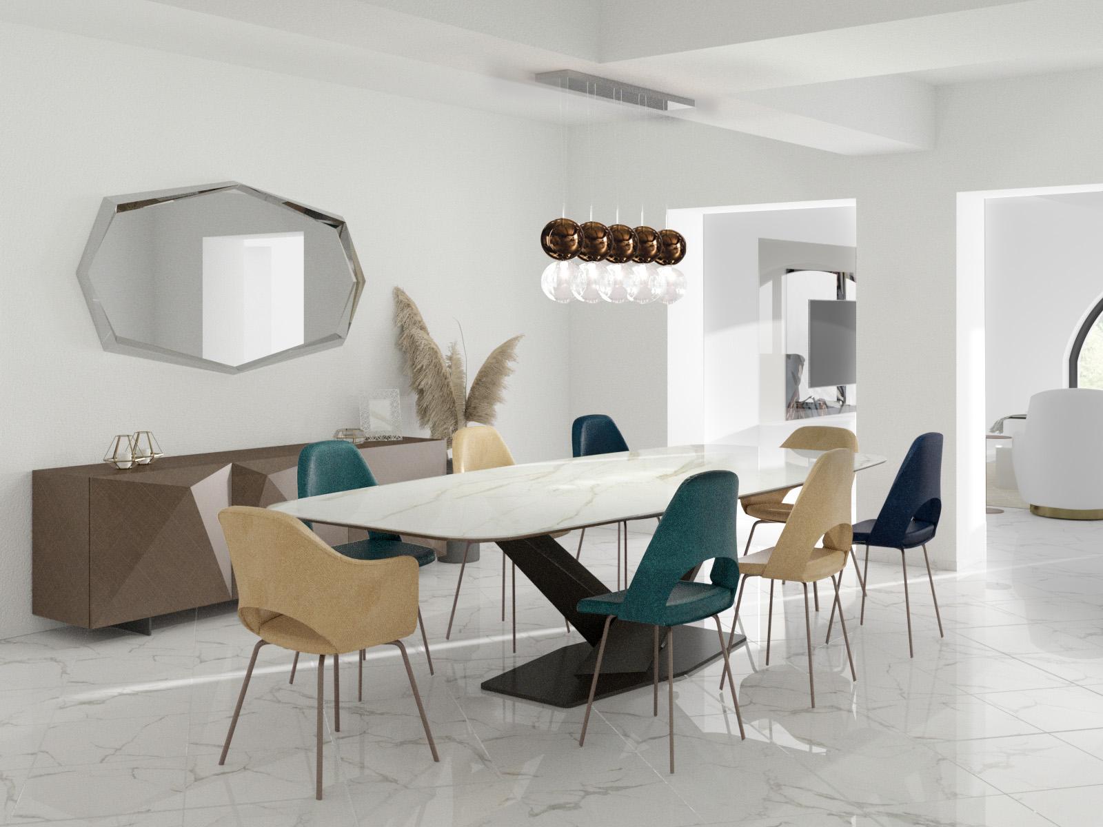 Sala da pranzo tutta bianca, con madie e sedie colorate