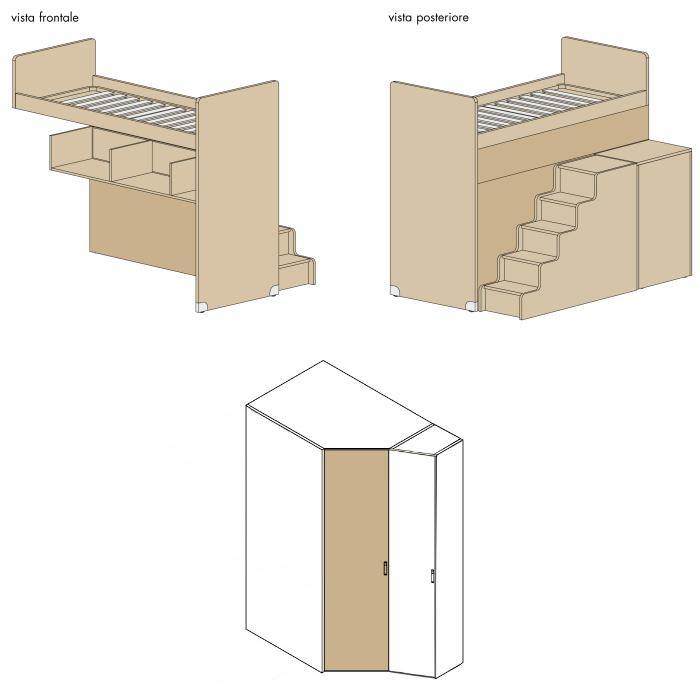 arredaclick blog - il progetto di pamela: una cameretta di 12 mq ... - Armadio Angolare Cameretta