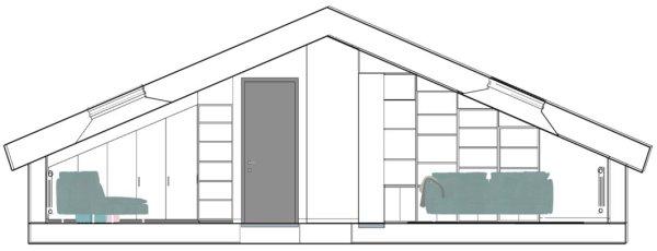 Sezione laterale della mansarda - salotto - soggiorno