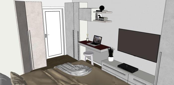 Render del progetto: soluzione per inserire un mini studio in camera