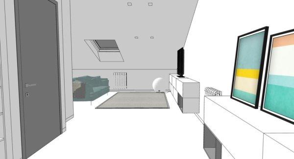 Render progetto - visione sulla zona tv