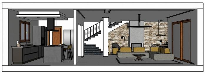 Visuale del living con soggiorno e cucina