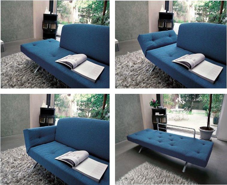 Reclinando i braccioli e rimuovendo lo schienale è possibile trasformare Mango da comodo divano due posti a pratico letto singolo