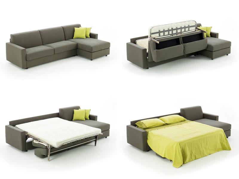 Da divano con chaise longue a letto matrimoniale. Puoi ricavare tanto spazio contenitore nella chaise longue e dietro gli schienali.