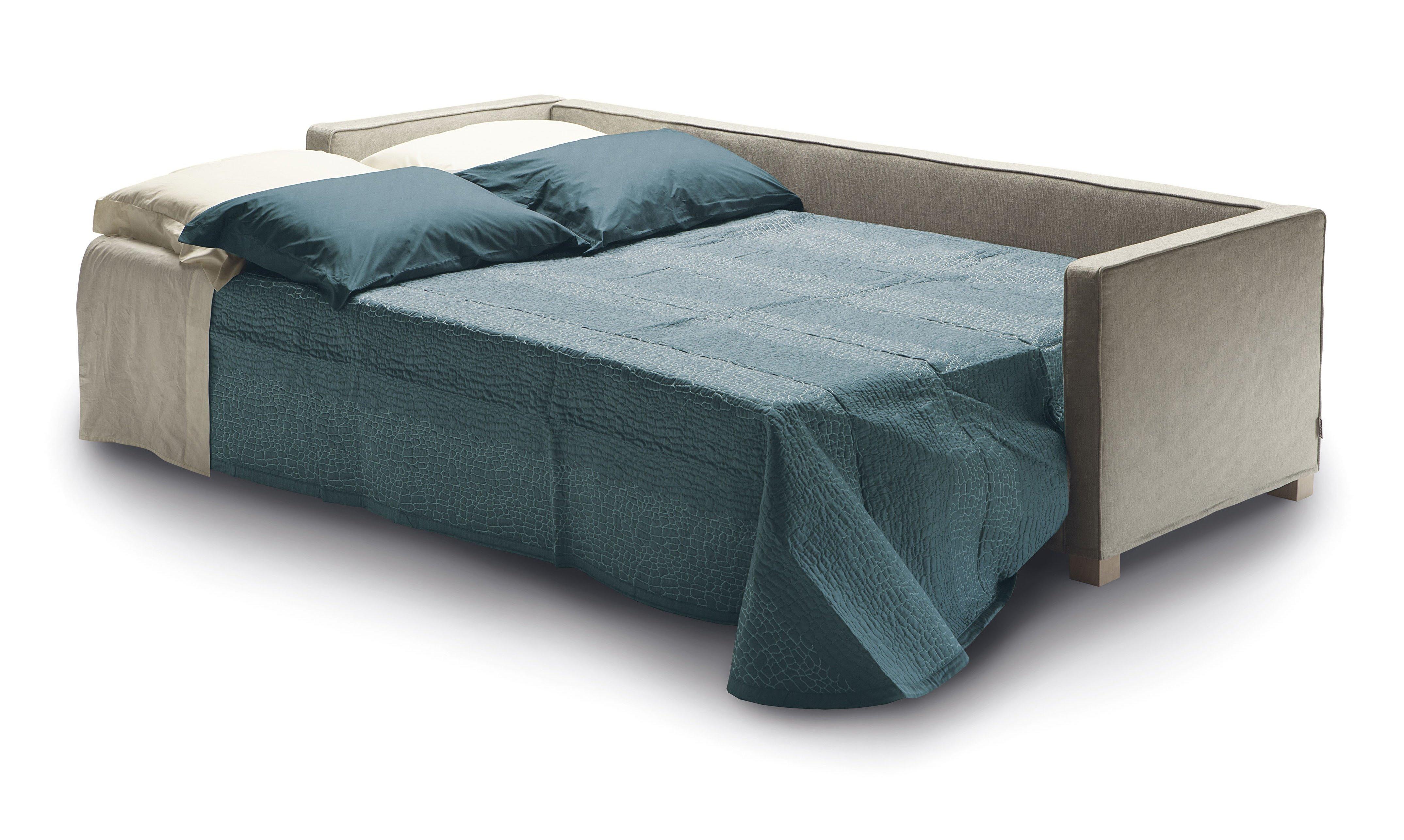 Divano letto Andersen di Milano Bedding con piano di riposo trasversale.