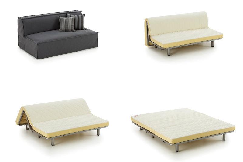 Per trasformare il divanetto in letto basta togliere il rivestimento sfoderabile e tirare in avanti la struttura