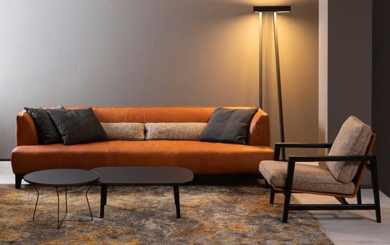 Divano con cuscino di seduta unico, in pelle arancione / marrone - Greg