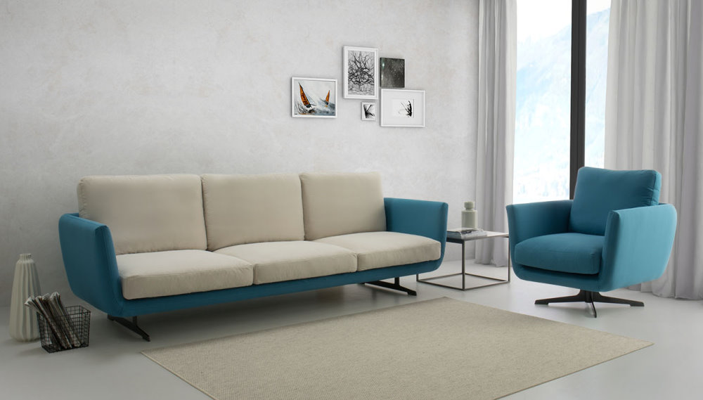 Divano moderno bicolore blu acceso e bianco panna Ghost