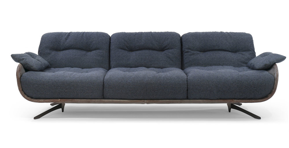 Divano Ayton con soffici cuscinature in tessuto blu scuro e struttura in tinta o in contrasto