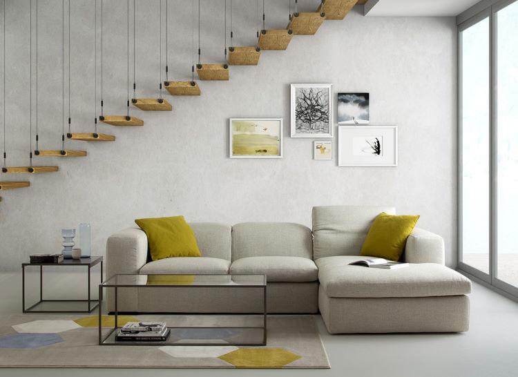 Divano con chaise longue a parete lato finestra - Ballantine