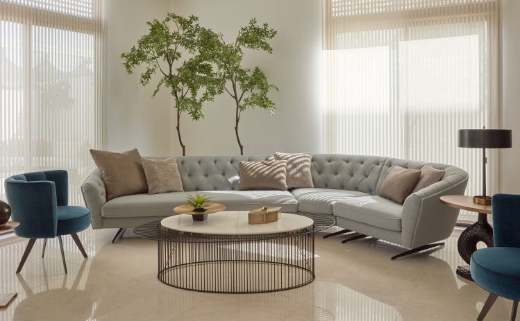 Salotto con pianta dietro a divano stile chesterfield curvo - New Kap
