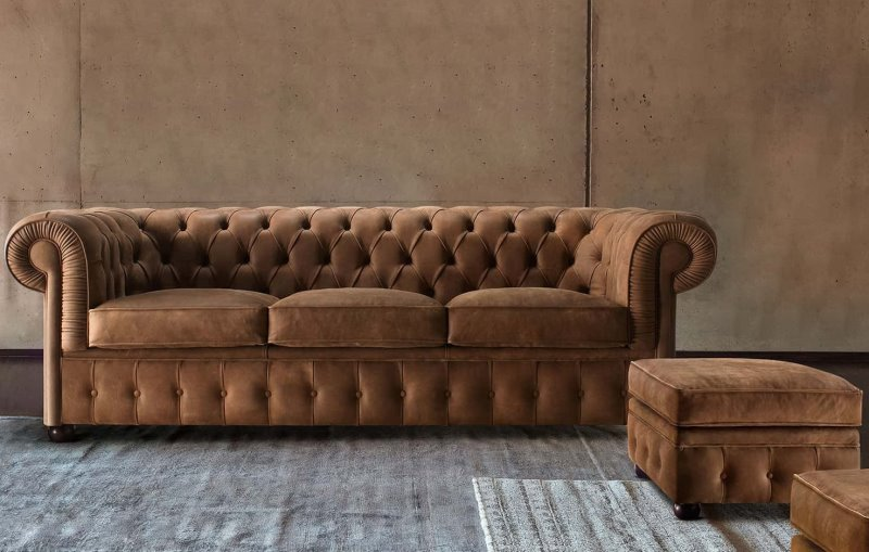 Divano in pelle vintage in stile Chesterfield - Chester