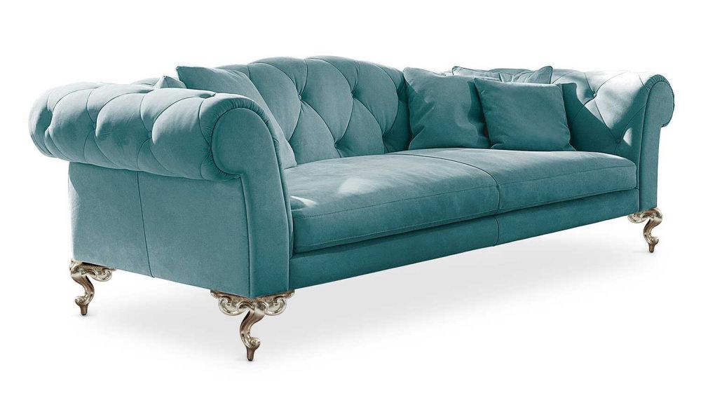 Divano chester classico in velluto blu azzurro George