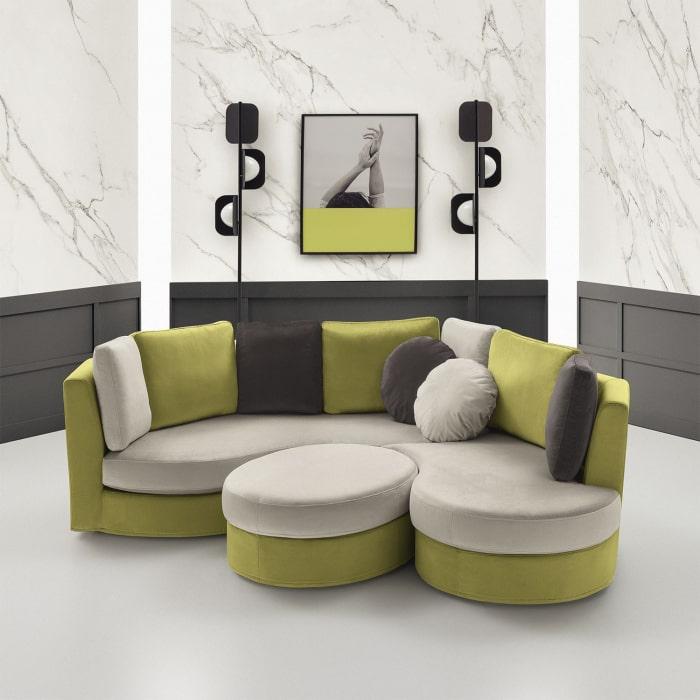Ravel: divano componibile curvo in versione bicolor