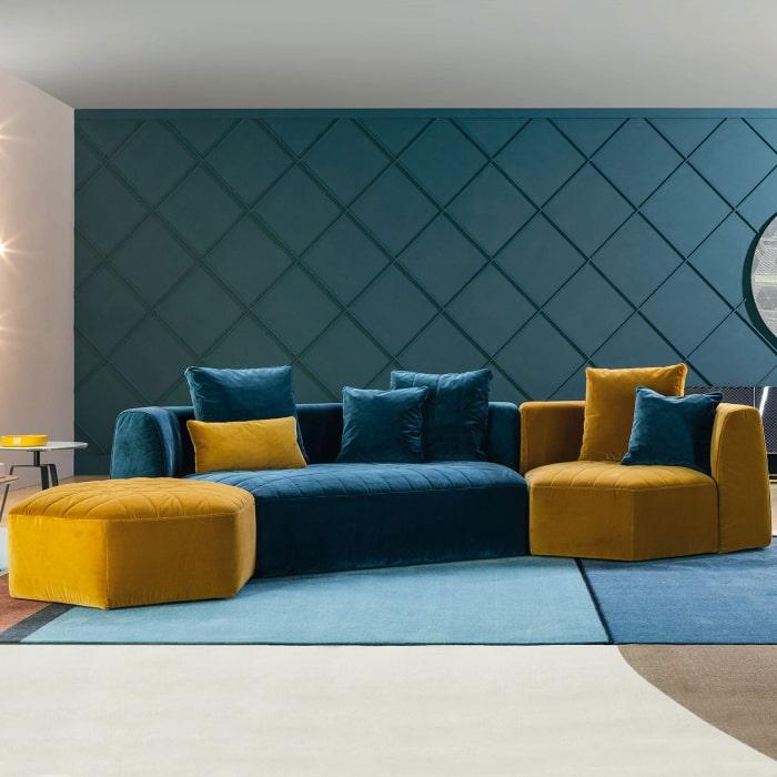 Divano componibile giallo e blu Panorama