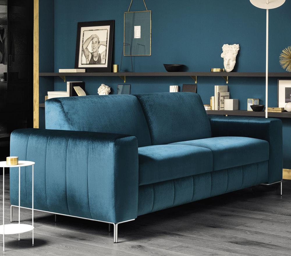 Divano letto comodo e elegante in velluto blu Norton