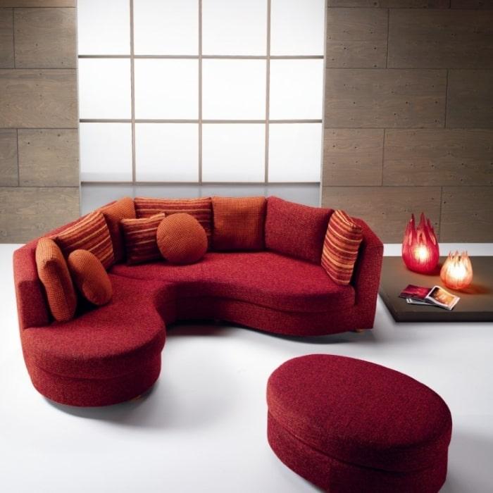 Ravel: Divano modulare arrotondato rosso