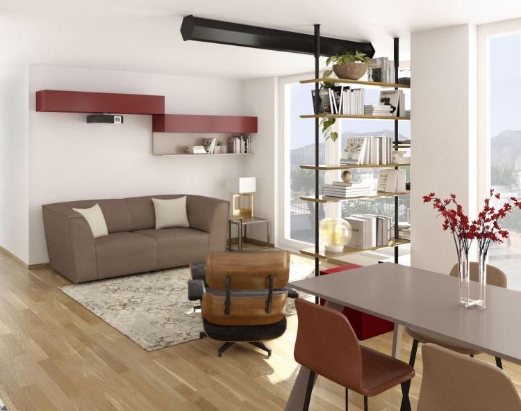 Progetto per soggiorno con cucina a vista 45 mq