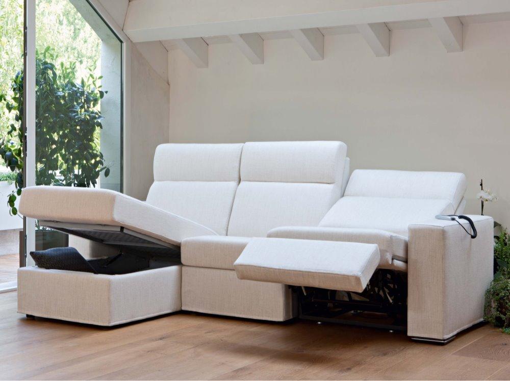 Divano reclinabile con chaise longue contenitore - divano Florian