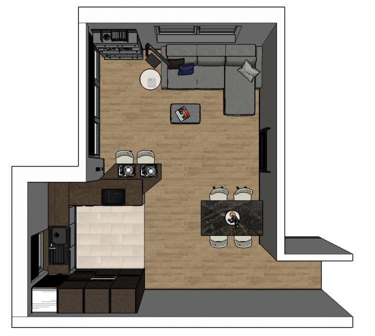 Pianta open space soggiorno-cucina con divano appoggiato a muro