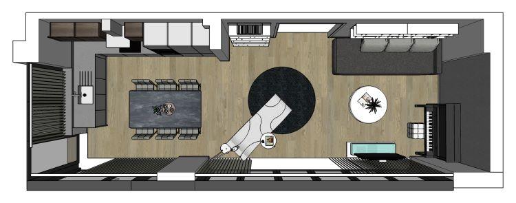 Open space lungo e stretto con grandi vetrate e divano a parete