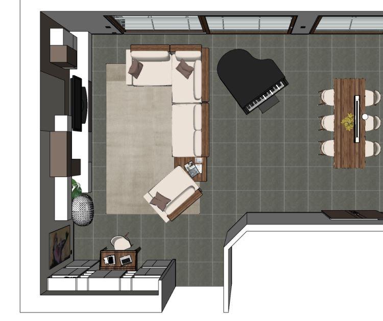 Progetto soggiorno con divano al centro con mensole integrate