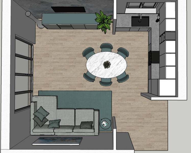 Progetto open space con divano contro il muro e tavolo al centro