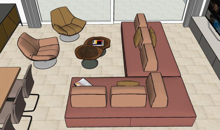 Progetto divano bifacciale con tv da un lato e zona conversazione dall'altro