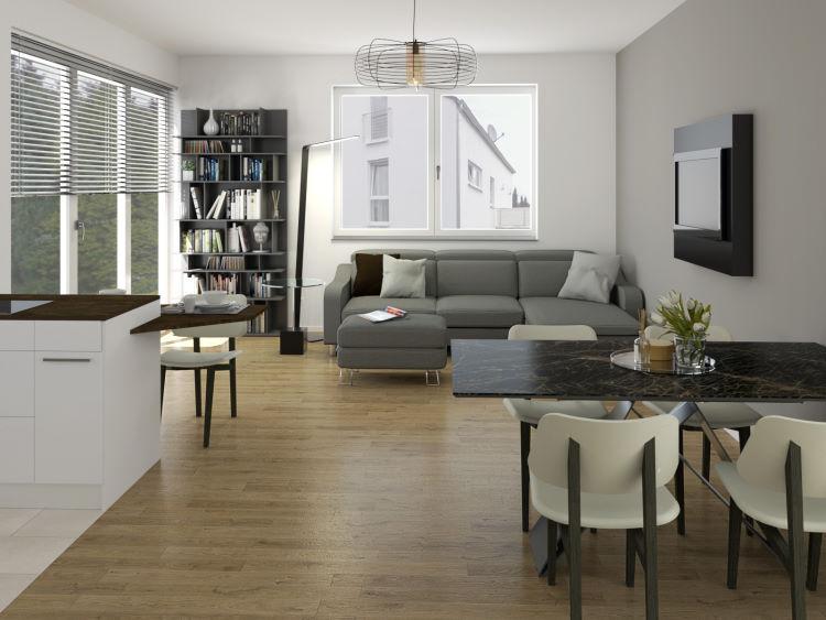 Render open space con divano a parete, tavolo al centro e tv orientabile