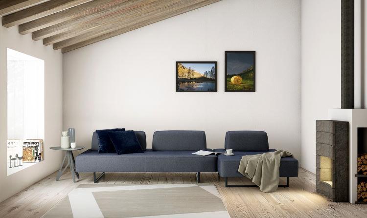 Divano minimal con penisola appoggiato contro parete di fondo - Prisma Air