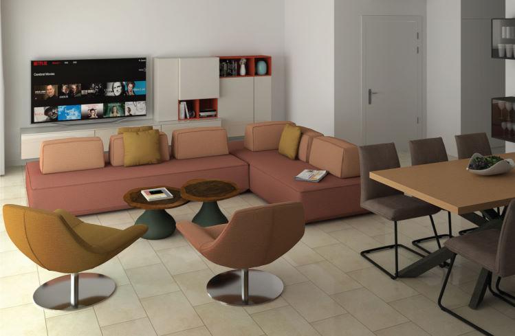 Render del salotto con divano doppia seduta dentrale - Prisma