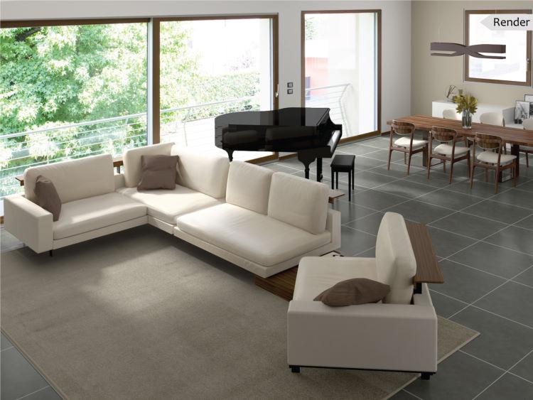 Progetto per soggiorno open space con divano centrale a doppio angolo - Caen