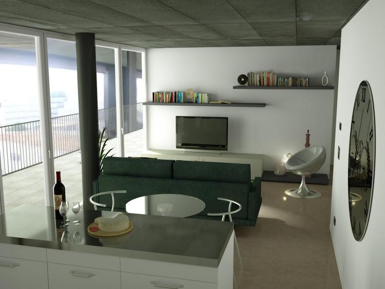 Render open space con divano, tavolo e isola cucina centrali