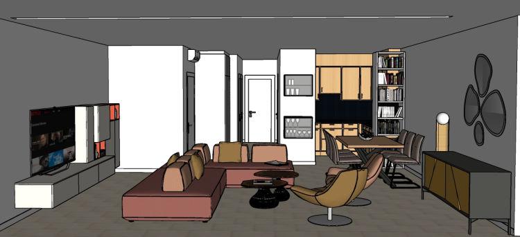 Progetto soggiorno con cucina a vista e divano centro stanza