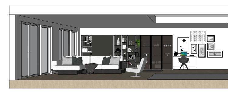 Progetto grande soggiorno open space con divano centro stanza e libreria dietro