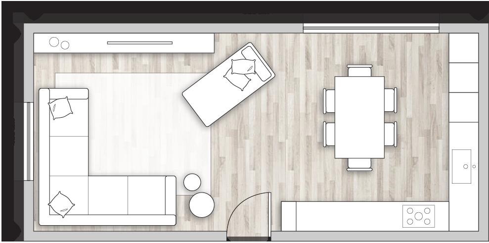 Progetto open space di 36 mq con divano angolare e chaise longue in centro