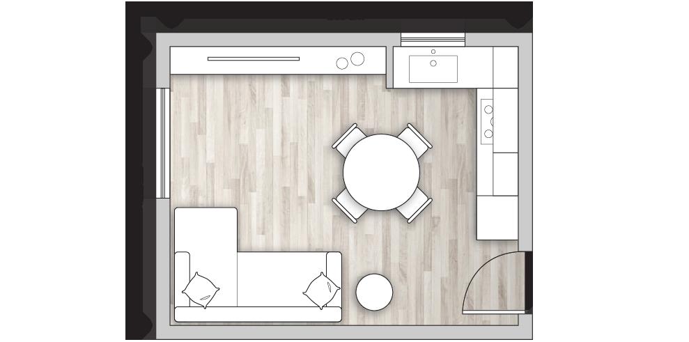 Progetto open space di 20 mq con divano a penisola