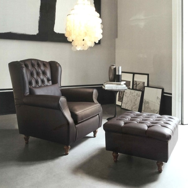Poltrona chesterfield marrone Laurence
