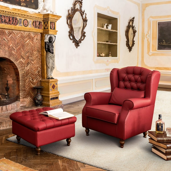 Poltrona chesterfield rossa Laurence