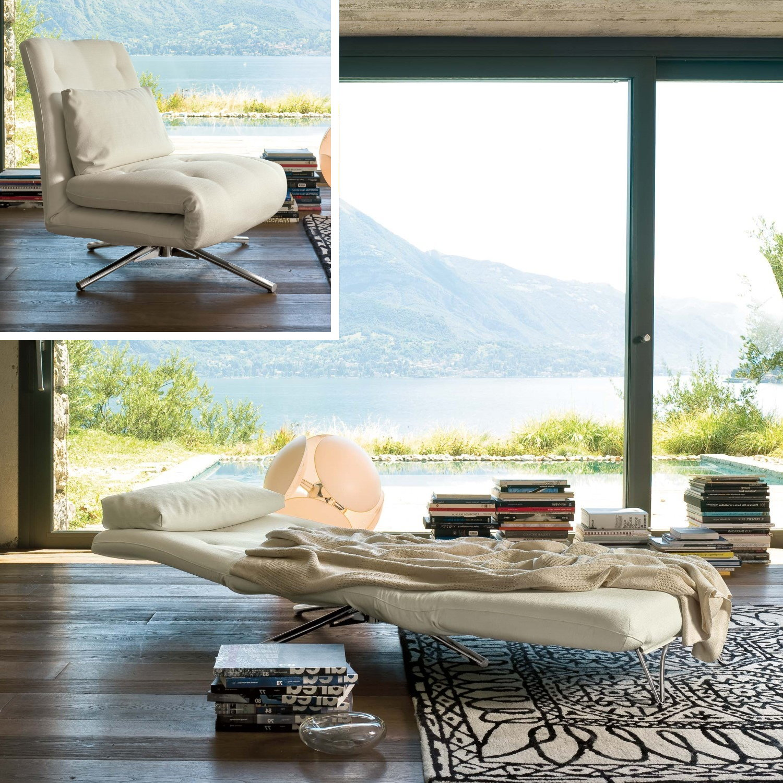 La poltrona può essere usata in versione relax come chaise longue o come piano letto secondario per ospitare amici e parenti.