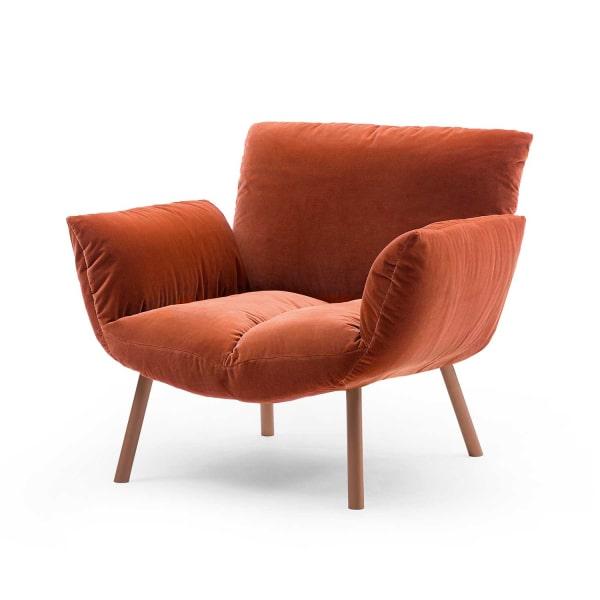 Poltrona in velluto arancione Pil Armchair